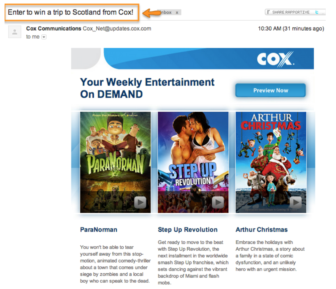 An example of a bad ad copy with Cox offering to win a trip to Scotland.