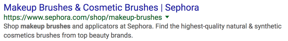 Google search ad from Sephora.