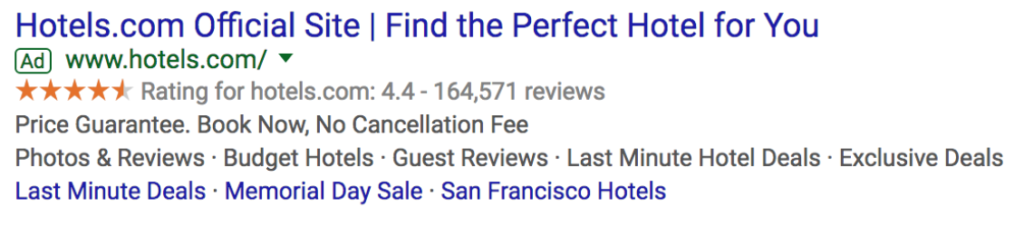 Google search ad from Hotels.com.