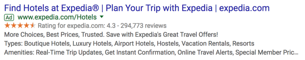 Google search ad from Expedia.
