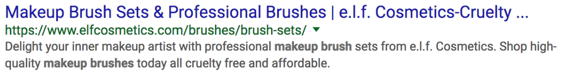 Google search ad copy from Elf Cosmetics.