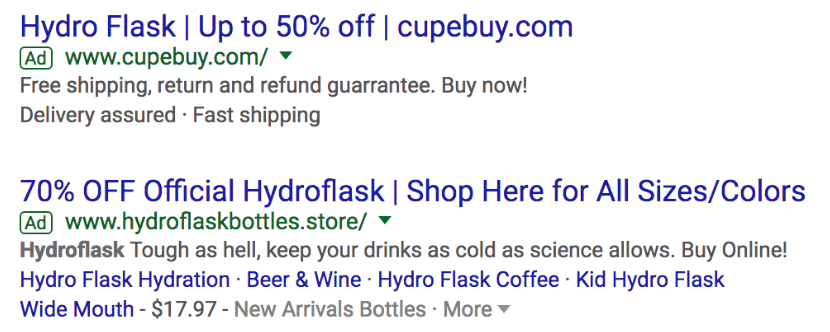 2 examples of Hydroflask Google search ad.