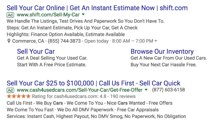 An example of a Google search ad copy about selling cars.