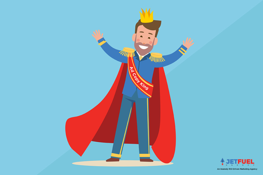 "A person wearing a crown with a sash that reads ""Ad copy king""."