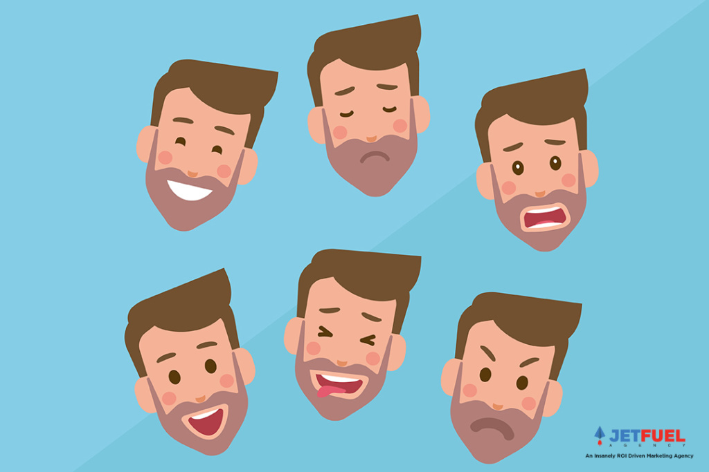 A person's face with multiple expressions such as happy, angry, and worried.