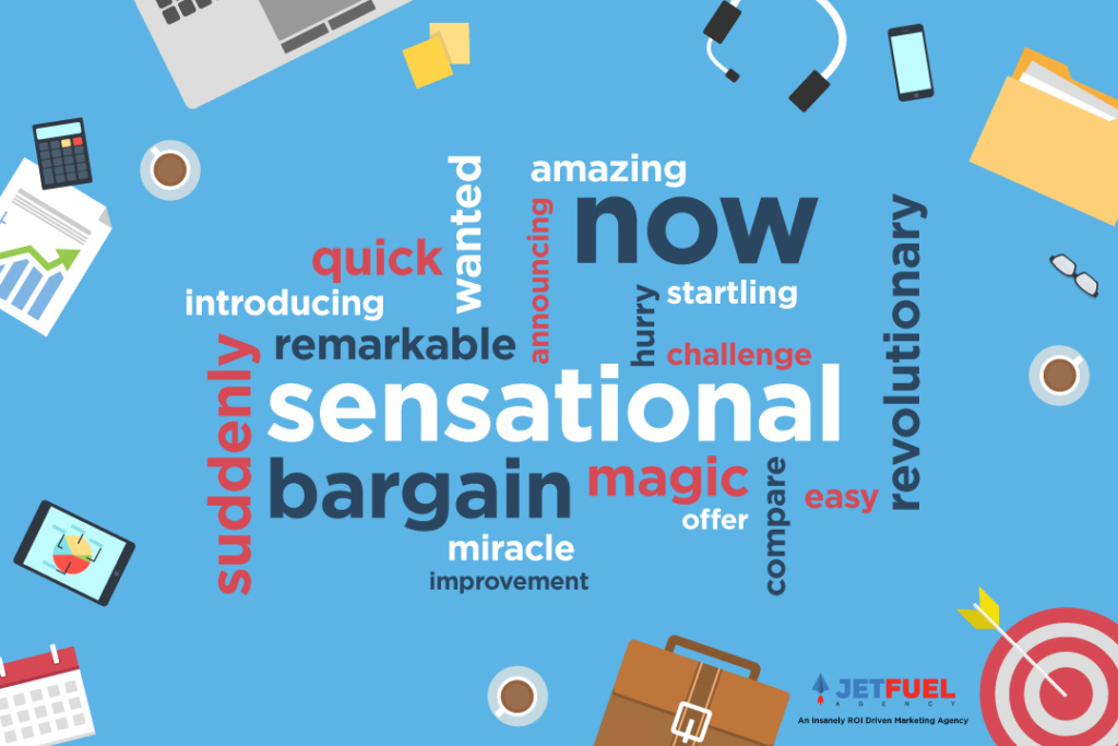 Office supplies that surrounds a group of emotionally appealing words like sensational, now, and miracle.