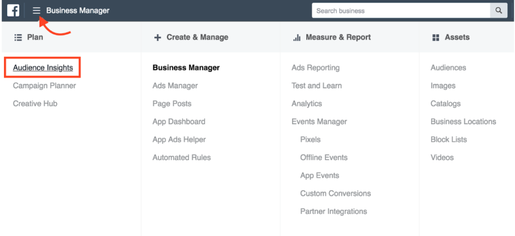 Selecting Audience Insights from Facebook Business Manager.