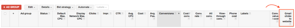 Adwords metric with Gmail clicks to website section highlighted.