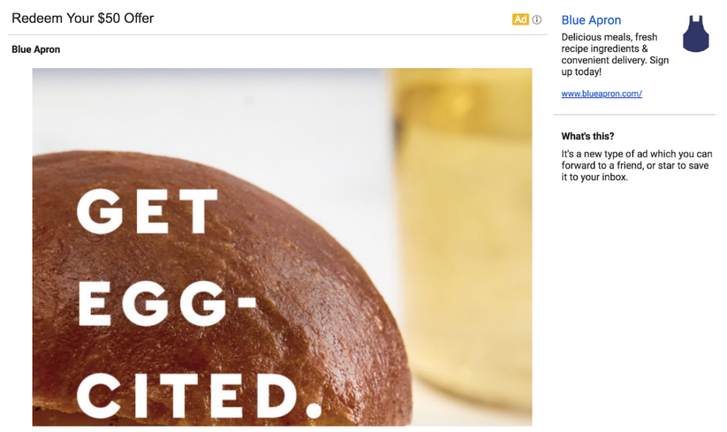 Gmail ad for Blue Apron with a promise of a discount.
