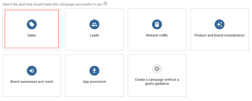 Sales goal option selected on Adwords.