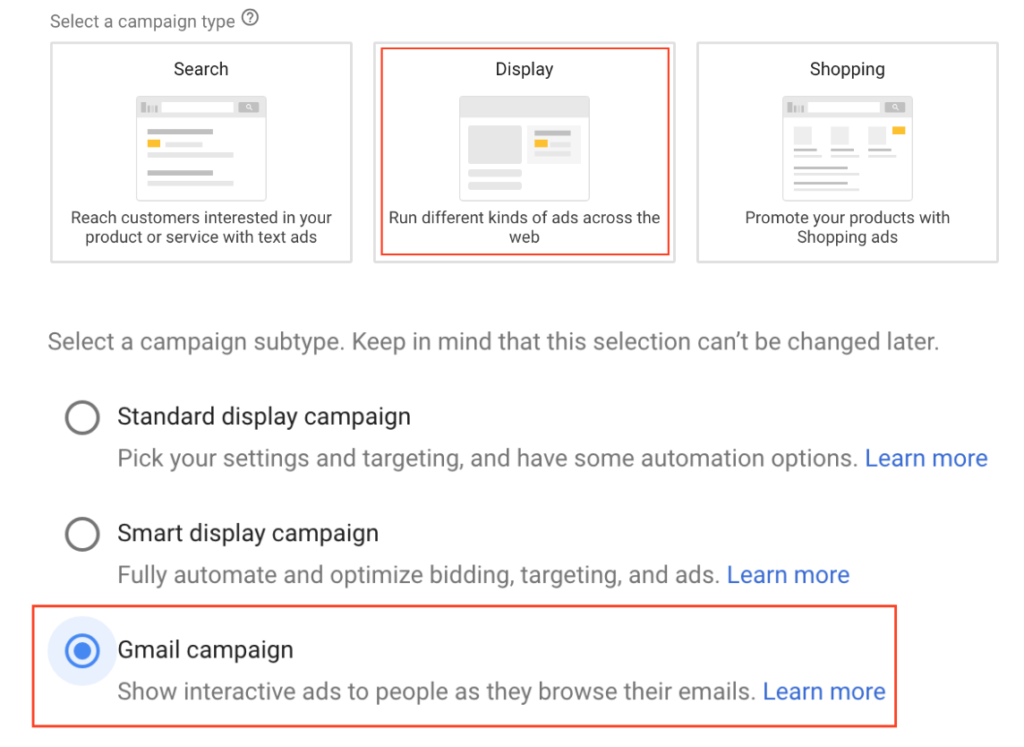 Display ad option and Gmail campaign selected on Adwords.