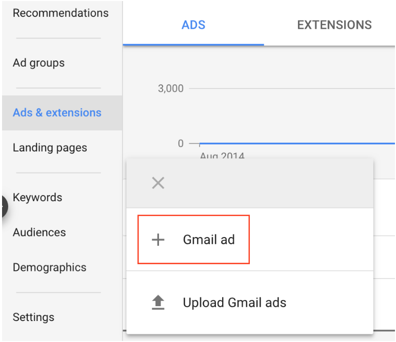 Gmail ad option highlighted in the category ads and extensions on Adwords.