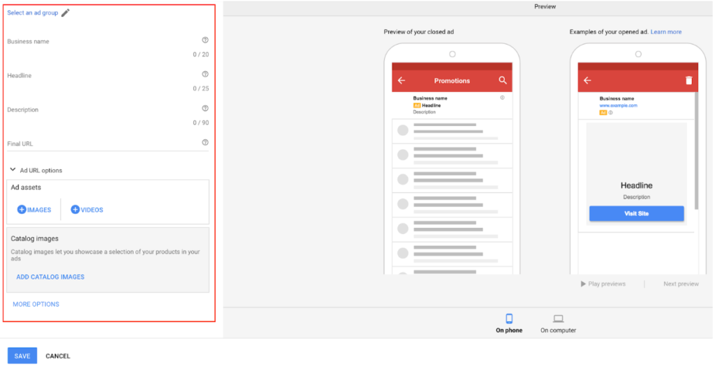 A form to fill out to create a Gmail ad on Adwords.