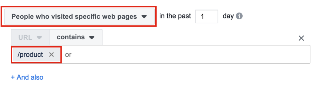 "Targeting URL that contains ""product"" in Facebook Business Manager."