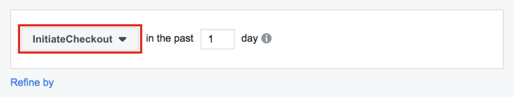 InitiateCheckOut option selected on Facebook Business Manager.