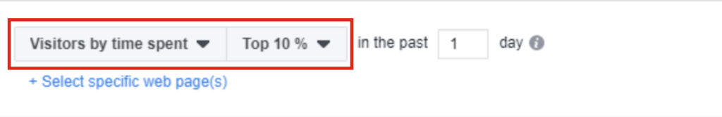 Selecting the option to target audience based on their time spent on Facebook Business Manager.