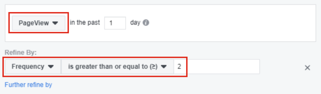 Selecting audience targeting on Facebook Business Manager based on page view for users that have visited 2 or more times.