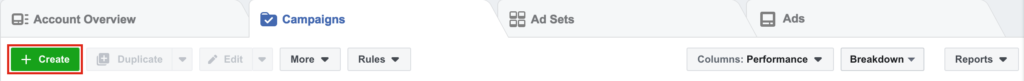 Selecting the Create button from Facebook Business Manager to create a new campaign.