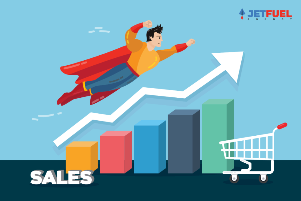A cape wearing super hero flying upwards over a sales related bar graph trending upwards.
