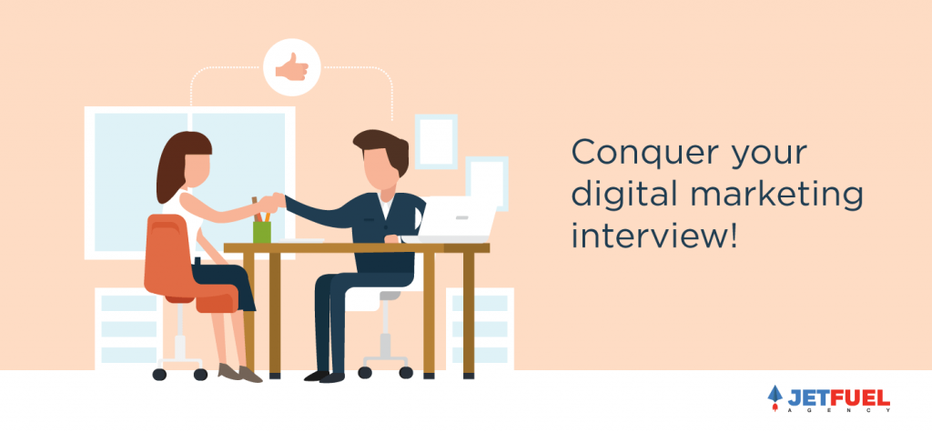 Two people conducting an interview. The interviewer is conquering their digital marketing interview.