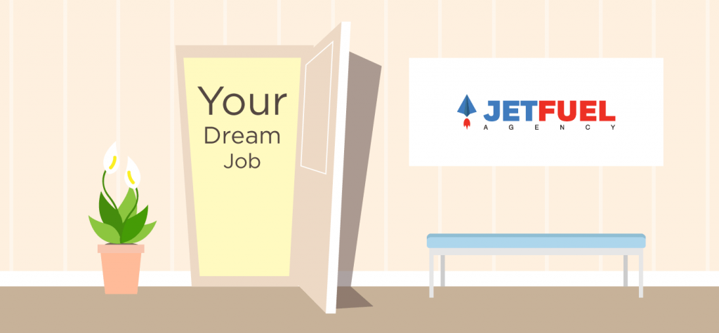 "Door opened with ""your dream job"" inside."