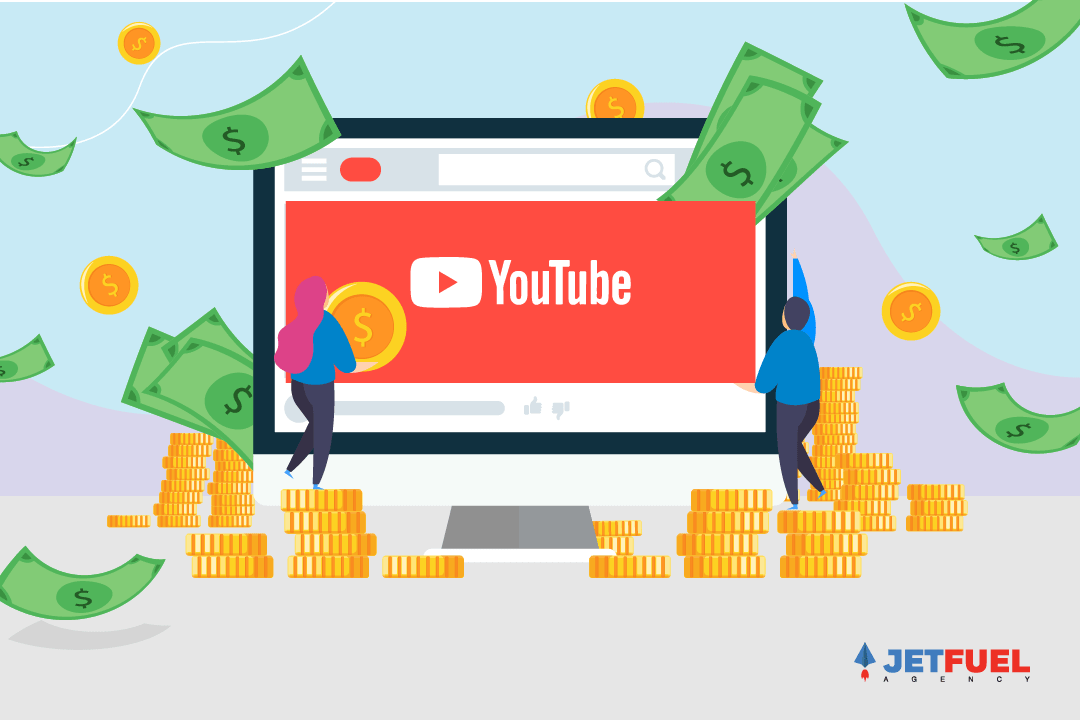 Two people placing YouTube logo on a computer screen with money raining down.