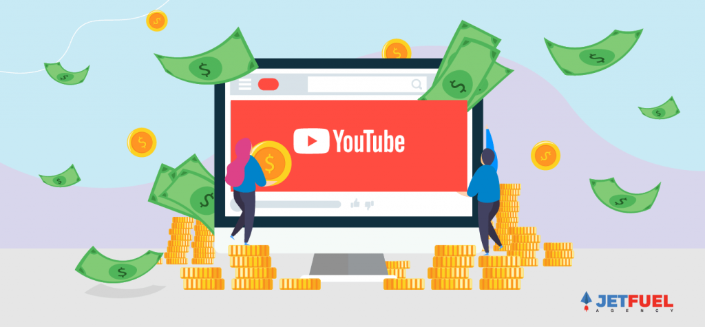 Money shooting out of a computer screen with the YouTube logo displayed.
