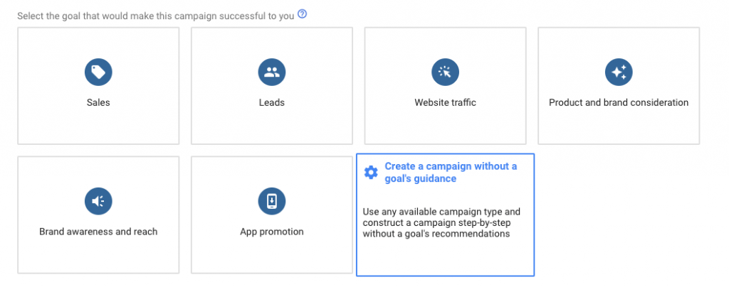 Creating a campaign without a goal's guidance on Google Adwords.