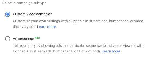 Custom video campaign being selected in the campaign subtype category within Google Adwords.