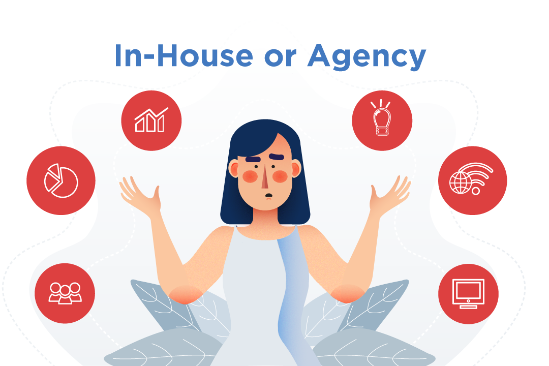 A person deciding to work in-house or agency.