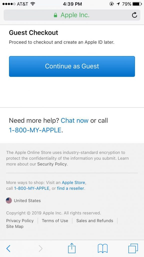 Apple showing the customer that there is a guest checkout option.