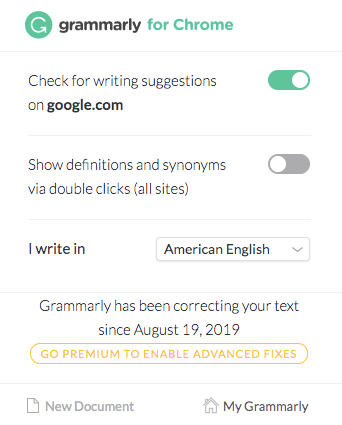 Grammarly's menu options.