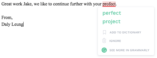 An email being sent with Grammarly chrome extension correcting a spelling mistake.
