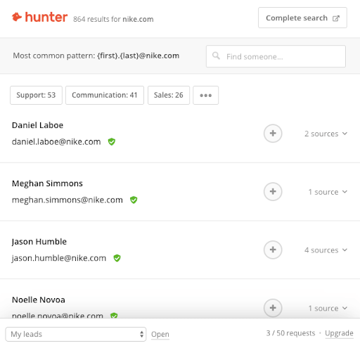 Hunter Chrome extension displaying multiple email addresses that the extension can find from a website.
