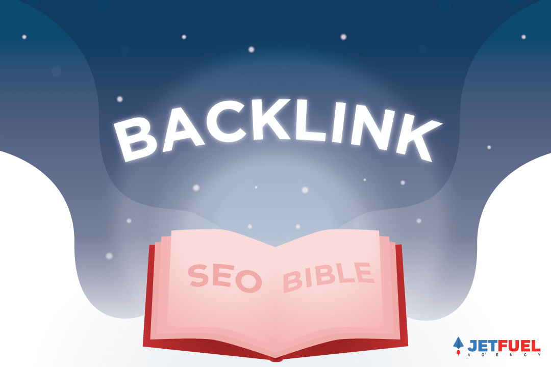 SEO bible with backlinks coming out of the book.