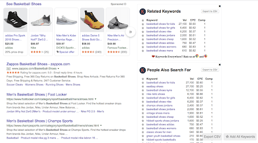 Chrome browser when you type in basketball shoe with the Keywords Everywhere Chrome extension displaying related keywords and what people also search for.