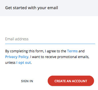 Menu to type in your email, so you can create a LastPass account.