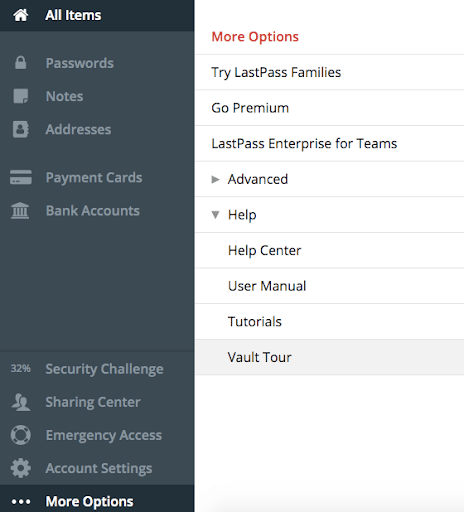 LastPass side menu tool with the option for the user to start their Vault Tour.