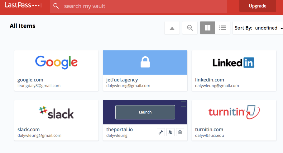 Multiple accounts in a LastPass password vault.