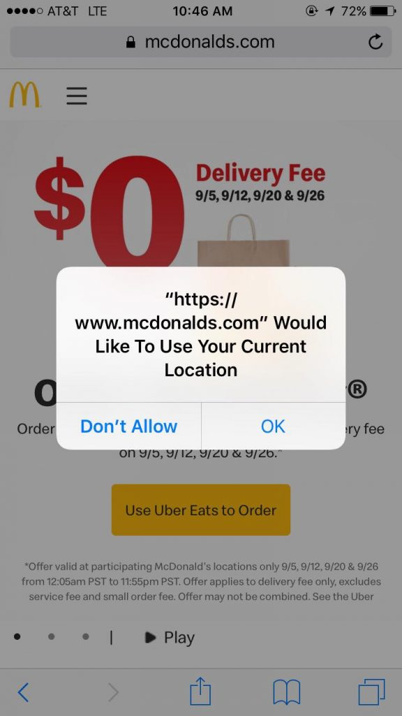 McDonalds website asking the mobile user if they would like to share their current location.
