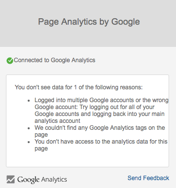 Page Analytics displaying a message indicating that you can't see the data due to one element missing.
