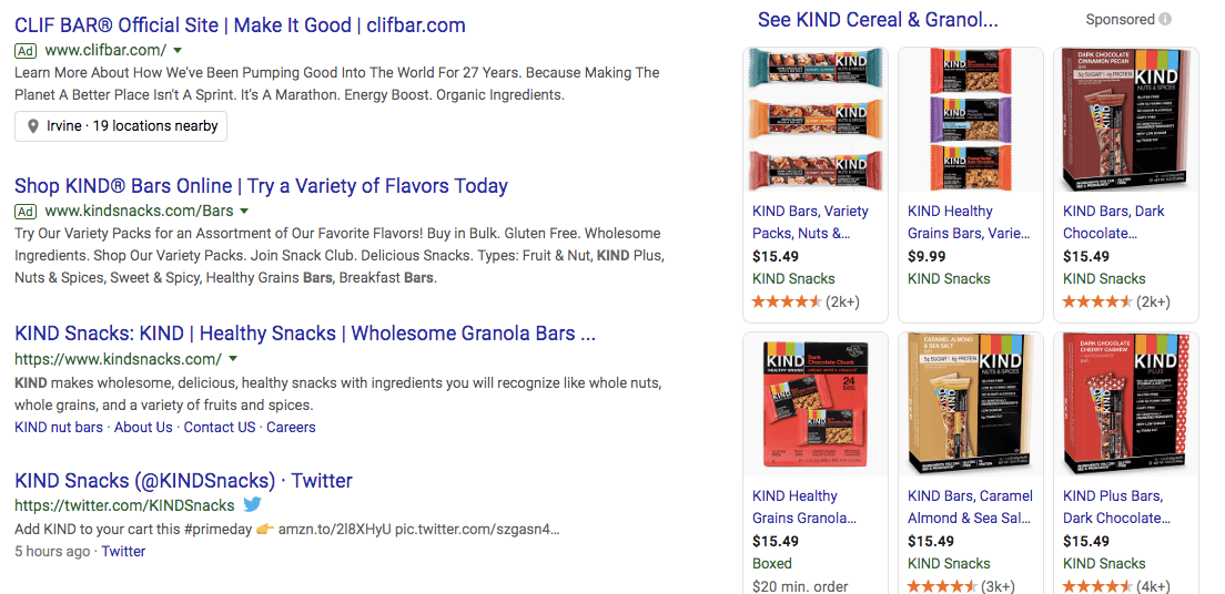 "Clif Bar on the first space on Google's search engine for the search term ""kind bar""."