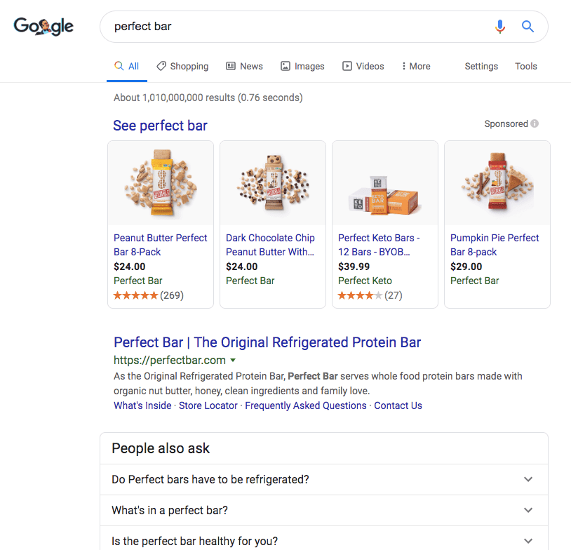 "Google's search result for the search term ""perfect bar""."
