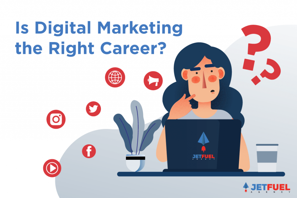 A person in front of their computer thinking if digital marketing is the right career for herself.