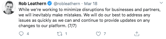 Rob Leathern tweets that Facebook is trying to minimize disruptions for all businesses and promises to provide updates as well as address any issues.