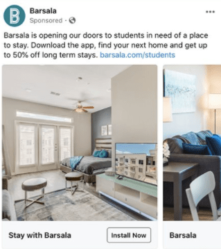 Barsala is advertising that they are providing 50% off to help students find a place to stay while they are forced to move.