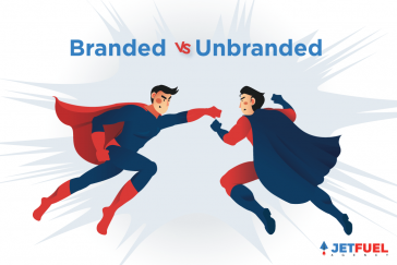 Two superheroes representing branded and the other one representing non-branded fighting.